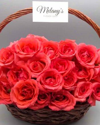 cesta de rosas rojas en el salvador