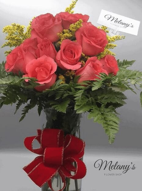pink roses in glass bouquet 2